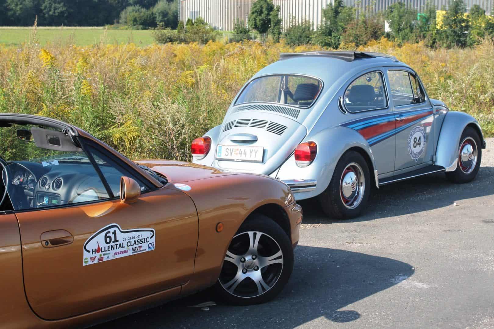 Ausflug des CAR Teams Ferlach am 12. September 2020 mit Gleichmäßigkeitsprüfung anstelle des abgesagten sms-Classic-Sprints - Sonnleitner, Mazda MX5; Leutgeb, VW-Käfer